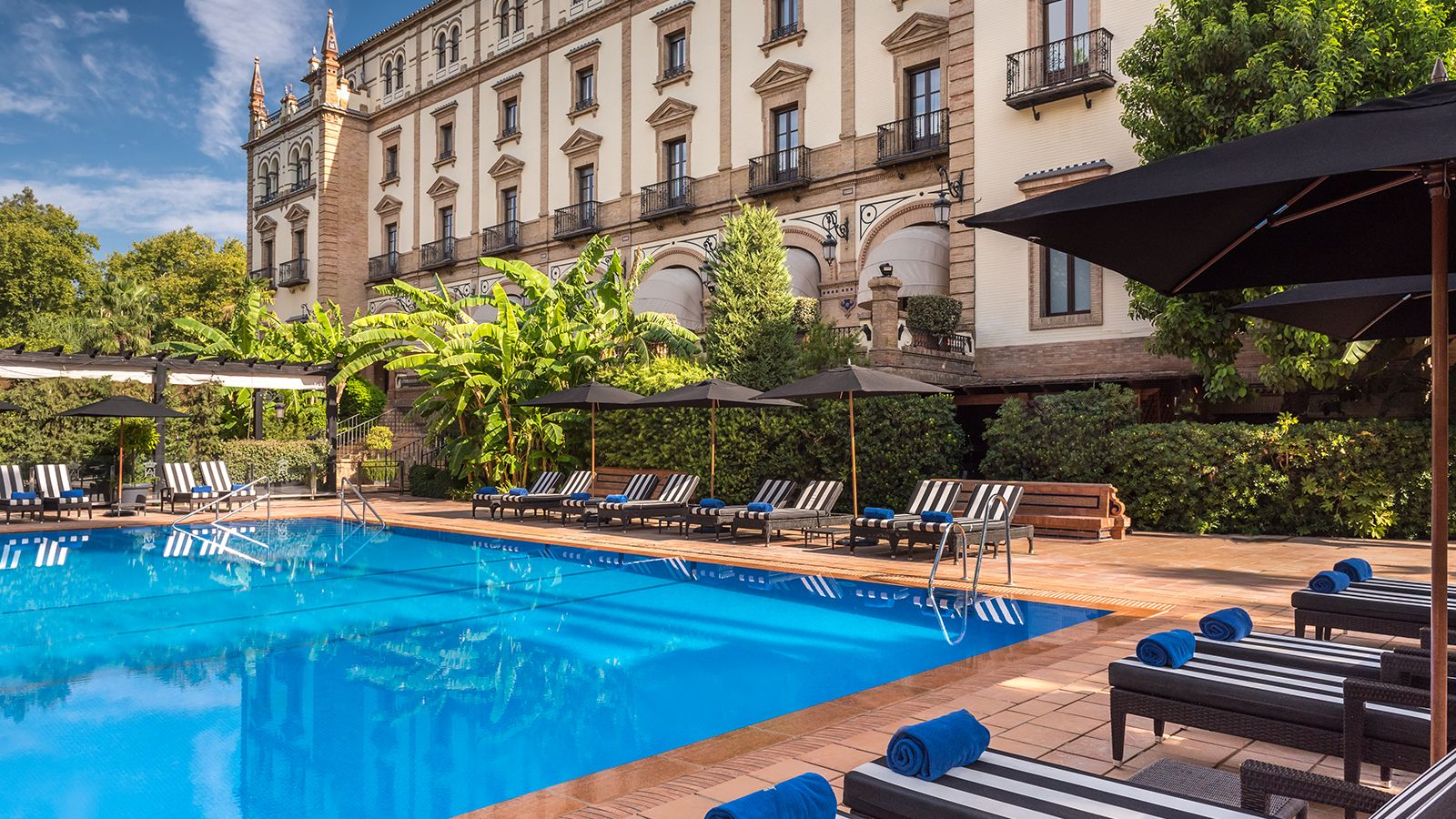 Swimming pool and gardens at Hotel Alfonso XIII, a Luxury Collection Hotel.